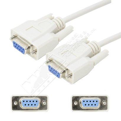DB9 Female/Female Null Modem Cable, Beige (Choose Length)