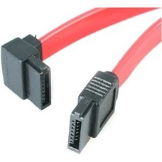 """12"""" Internal SATA Cable, Left Angle to Straight, Red"""