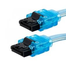 "19"" SATA Cable w/ Locking Latch Connector, UV Blue"