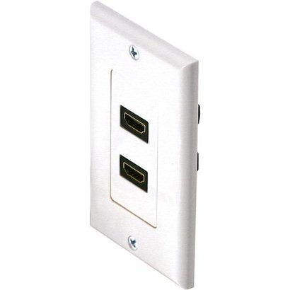 HDMI 2 Port Wall Plate with HDMI Female/Female Port, White