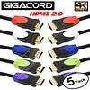 Gigacord 5-Pack, 5 Colored connectors, 4K HDMI Cable 18Gbps 4K HDR, 3D, 2160P, 1080P, Ethernet - 30AWG Braided 100% Copper HDMI Cord - Audio Return(ARC) (Choose Length)