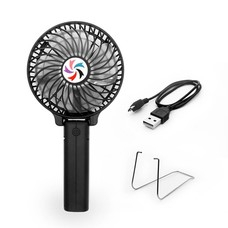 Portable USB Mini Battery Fans with Umbrella Hanging and Metal Clip (Black)