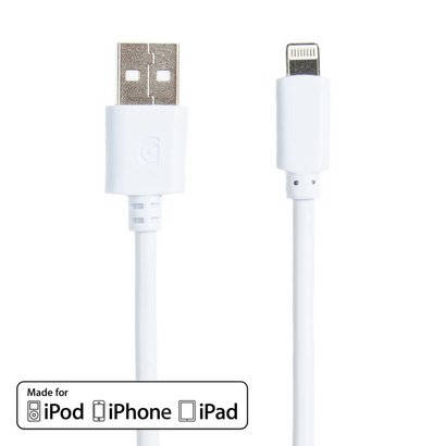 Griffin Griffin 8pin Lightning USB Sync Charge Transfer Cable, White (3 - 10ft.)