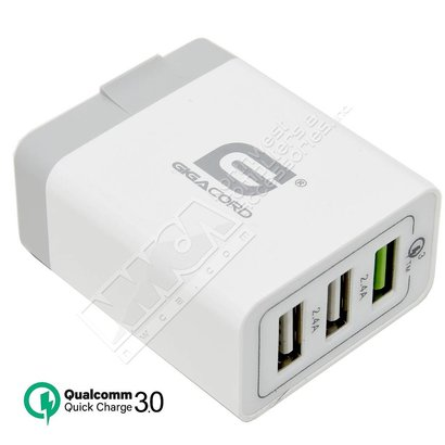 Gigacord Gigacord 3-Port QC 3.0 USB Travel Wall Charger, Foldable Plug, White (Qualcom Quick Rapid Charge Technology)