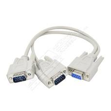 1FT DB9 Y 1-DB9F/2-DB9M Cable