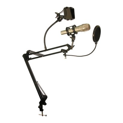 Desktop Microphone Stand With Rotating Phone Holder & Pop-Filter MDS-28