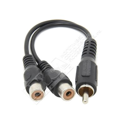 6-Inches RCA Plug to 2-RCA Jack Y Audio Patch Cord, Black
