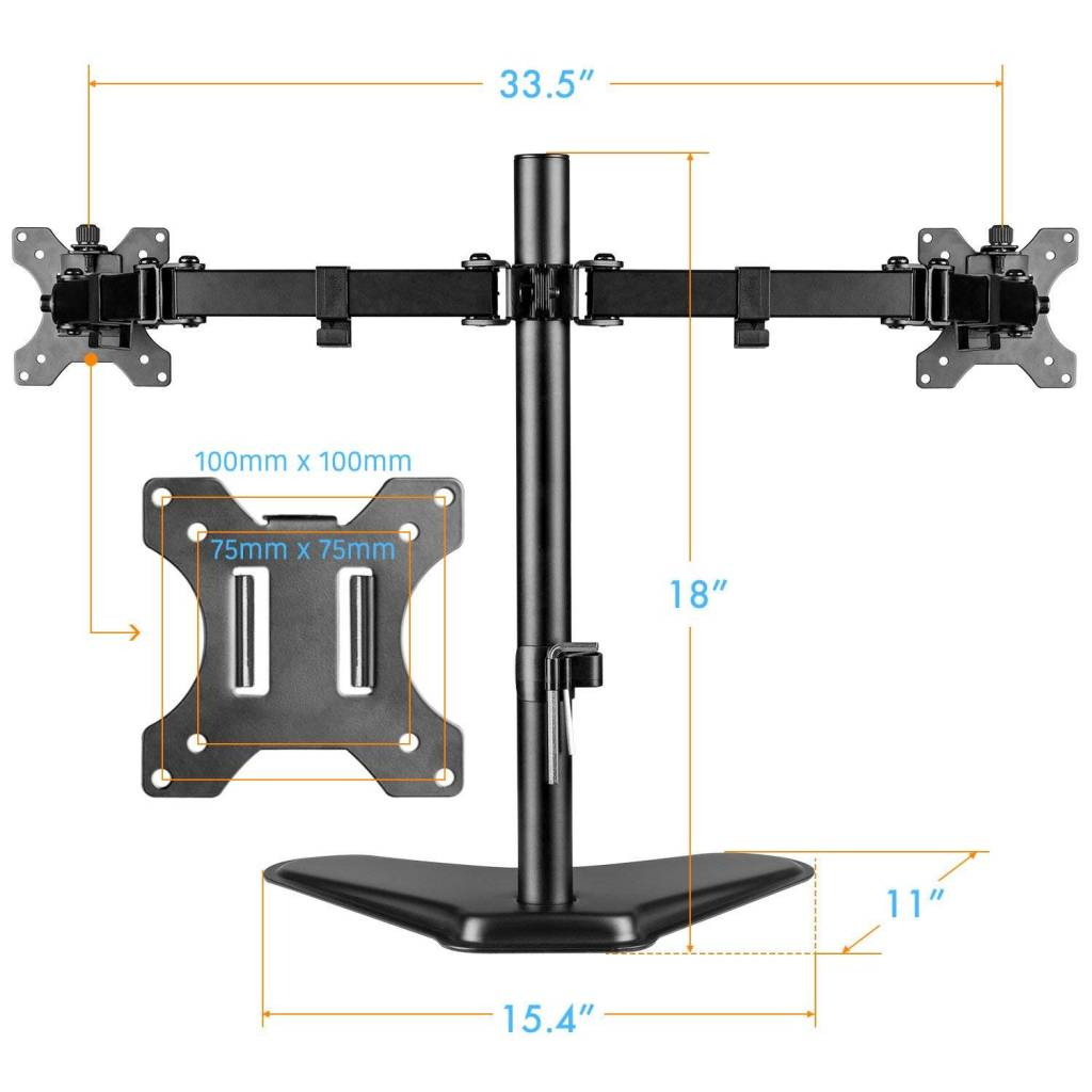 Home · Dual Monitor Stand, Free Standing Height Adjustable Two Arm Monitor  Mount For Two 13 To 32 Inch LCD Screens With Swivel And Tilt, 17.6lbs Per  Arm
