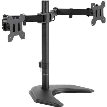 Dual LED LCD Monitor Free Standing Desk Mount with Optional Bolt-through Grommet/Stand Heavy Duty Fully Adjustable fits Two Screens up to 27""