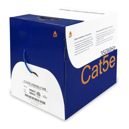 1000Ft Cat.5E Solid Wire Bulk Cable 24AWG CMR Pull Box, Blue
