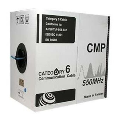 1000Ft Cat.6 Solid Cable Plenum (CMP) Blue 550Mhz 23AWG Solid