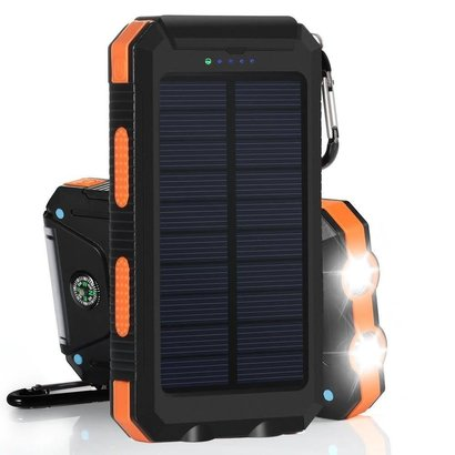 Gigacord Gigacord Solar Charger, Solar Power Bank 10000mAh External Backup Battery Pack Dual USB Solar Panel Charger with 2LED Light Carabiner Compass Portable for Emergency Outdoor Camping Travel-Orange