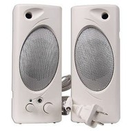 2 pc. Powered Multimedia Computer Speakers 1.5 Watt, White, 3.5mm Stereo