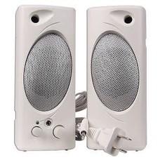 2 pc. Powered Multimedia Computer Speakers 1.5 Watt, White, 3.5mm Stereo