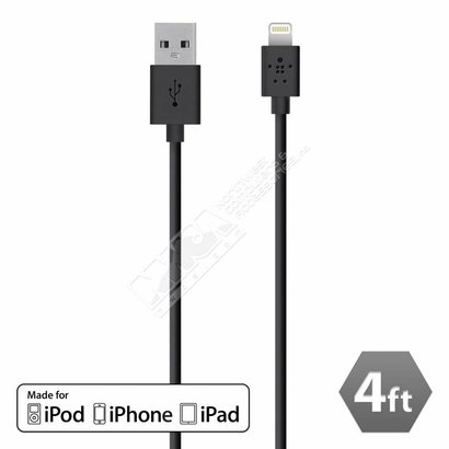 Belkin Belkin 4 Feet F8J023BT04-BLK 4' Lightning to USB Charge & Sync Cable Apple MFI Certified (Choose color)