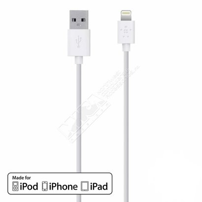 Belkin Belkin 9.8 Foot F8J023BT3M-WHT 9.8' Lightning to USB ChargeSync Cable (White) Apple MFI Certified