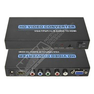 Gigacord Gigacord VGA and YPbPr Component + R/L Audio to HDMI Converter v1.3 with Remote support 720P 1080P, Black