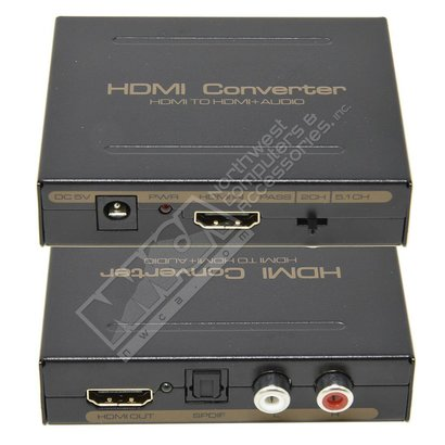 Gigacord Gigacord HDMI to HDMI Toslink / RCA Audio Extractor Converter 1080P, Black