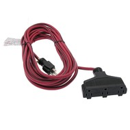 25FT 14/3 SJTW Red/Black Triple-Tap Extension Cord