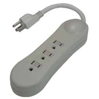 3-Outlet Power Strip, 125VAC 13Amp 0.66Ft