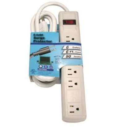 6Ft 6-Outlet Perpendicular Power Strip 90j