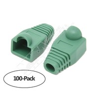 Color Boots for RJ45 Plug Ethernet LAN Network Patch Cable, Green 100pk