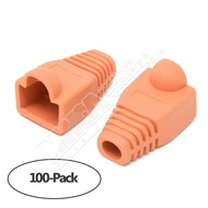 Color Boots for RJ45 Plug Ethernet LAN Network Patch Cable, Orange 100pk
