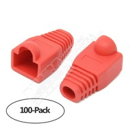 Color Boots for RJ45 Plug Ethernet LAN Network Patch Cable, Red 100pk