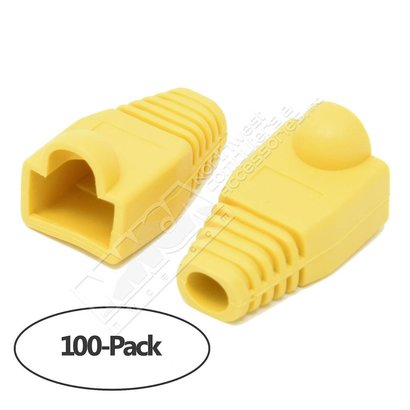 Color Boots for RJ45 Plug Ethernet LAN Network Patch Cable, Yellow 100pk