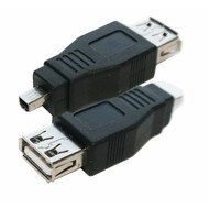 USB Adapter Gender Changer Coupler A (Female) to Mini B 4pin (Male)