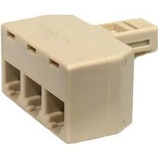 Steren 300-124 RJ11 4-Conductor 3-Line Splitter Adapter - Ivory