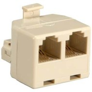RJ11(6P4C) 1M/2F Modular T Adapter, White