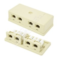 Cables Unlimited UTP-7804W Cat6 Quad Surface Mount Jack, Ivory