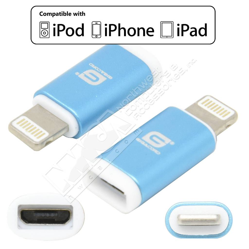gigacord micro usb female to 8 pin iphone male adapter. Black Bedroom Furniture Sets. Home Design Ideas