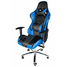 Cryo-PC Black and Blue Leather High Back Ergonomic Racing Style Swivel Gaming Chair