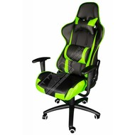 Cryo-PC Black and Green Leather High Back Ergonomic Racing Style Swivel Gaming Chair