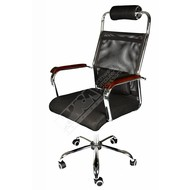 Cryo-PC Black and Chrome Office Chair with Ergonomic Support and Breathable Mesh Design