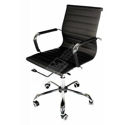 Cryo-PC Black Leather Ergonomic Office Swivel Chair