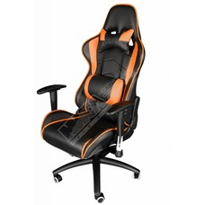 Cryo-PC Black and Orange Leather High Back Ergonomic Racing Style Swivel Gaming Chair