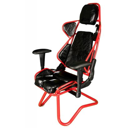 Cryo-PC Black and Red High Back Ergonomic Racing Style Gaming Chair with Sled Style Stand