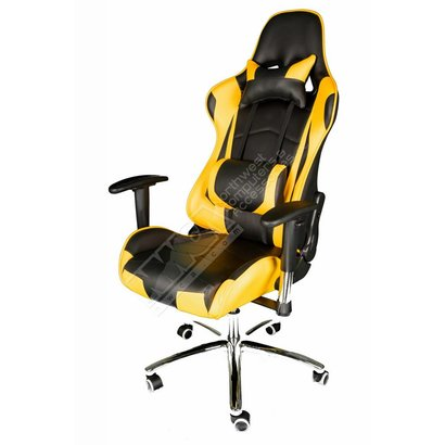 Cryo-PC Black and Yellow Leather High Back Ergonomic Racing Style Swivel Gaming Chair