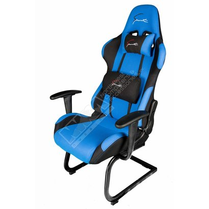 Cryo-PC Black and Blue High Back Ergonomic Racing Style Gaming Chair with Sled Style Stand