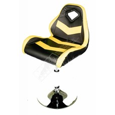 Cryo-PC Black and Yellow Leather Swivel Bar Chair
