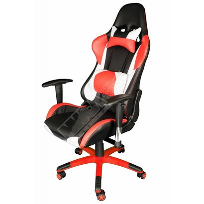 Cryo-PC Red, Black and White Leather High Back Ergonomic Racing Style Gaming Chair