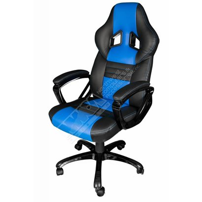 Cryo-PC Black and Blue Leather High Back Ergonomic Swivel Gaming Chair