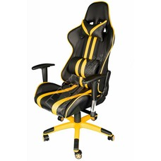 Cryo-PC Black and Yellow Leather High Back Ergonomic Racing Style Swivel Gaming Chairs