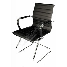 Cryo-PC Black Leather Ergonomic Office Chair with Sled Style Stand