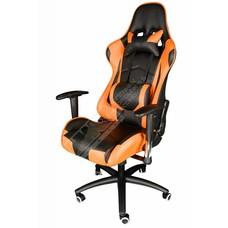 Cryo-PC Orange and Black Leather High Back Ergonomic Racing Style Swivel Gaming Chair