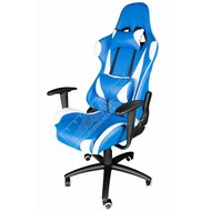 Cryo-PC Blue and White Leather High Back Ergonomic Racing Style Swivel Gaming Chair