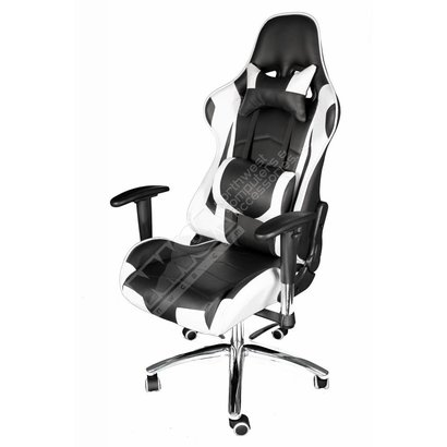 Cryo-PC Black and White Leather High Back Ergonomic Racing Style Swivel Gaming Chair